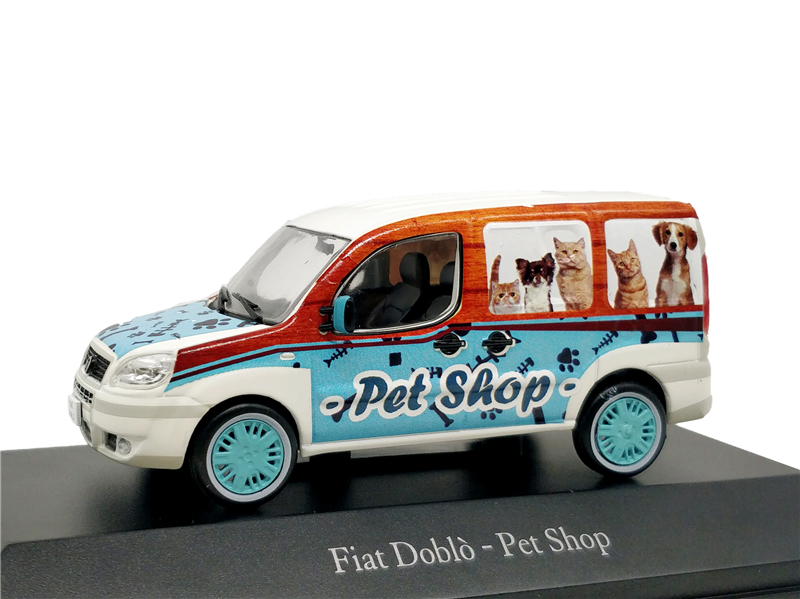 <font><b>1</b></font>:<font><b>43</b></font> IXO <font><b>Models</b></font> <font><b>Fiat</b></font> Doblo Van Pet Shop Miniature Vehicle Diecast <font><b>Model</b></font> <font><b>Car</b></font> image