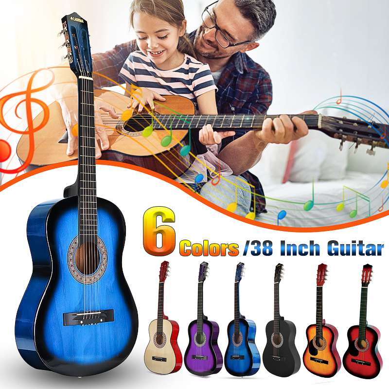 """38"""" Beginners Acoustic Guitar with Guitar Case, Strap, Tuner&Pick Steel Strings Guitar Musical Instruments"""