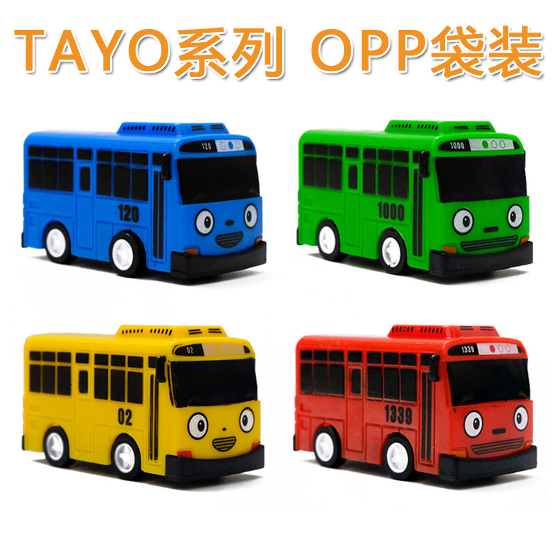 1pcTayo The Little Bus Korean Anime Oyuncak Car Model Mini Plastic Pull Back Blue Green Yellow Red Tayo Bus For Kids Gift