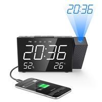 Projection Alarm Clock Digital FM Radio Dual Alarm Volume Snooze Time Humidity Temperature DisPlay Desk Projector Digital Clock