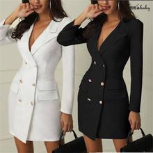 b031ab874b Vestidos Elegantes de las mujeres vestido de oficina chaqueta casual blanco  y negro vestido de Primavera de 2019 de invierno tra.