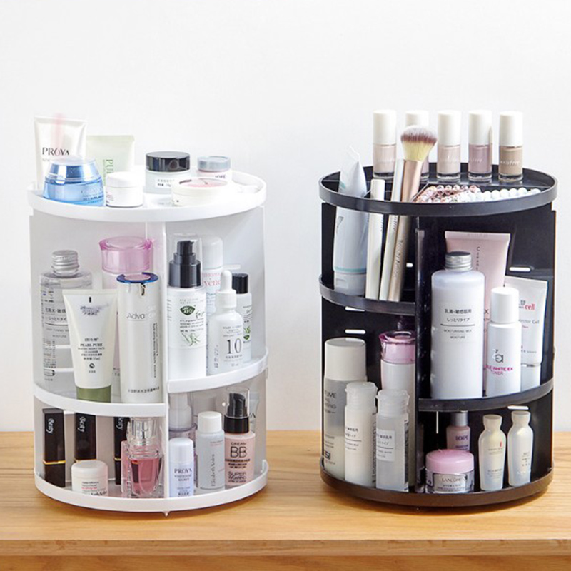 Image 5 - Fashion 360 degree Rotating Makeup Organizer Box Brush Holder Jewelry Organizer Case Jewelry Makeup Cosmetic Storage Box-in Makeup Organizers from Home & Garden