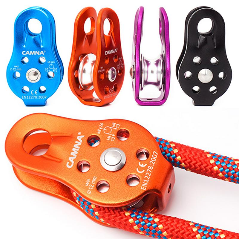 Climbing Cavern Pulley Fixed Single Pulley Cross Rescue Cave Lifting Aluminum Alloy Pulley Travel Kits Rope Pulley
