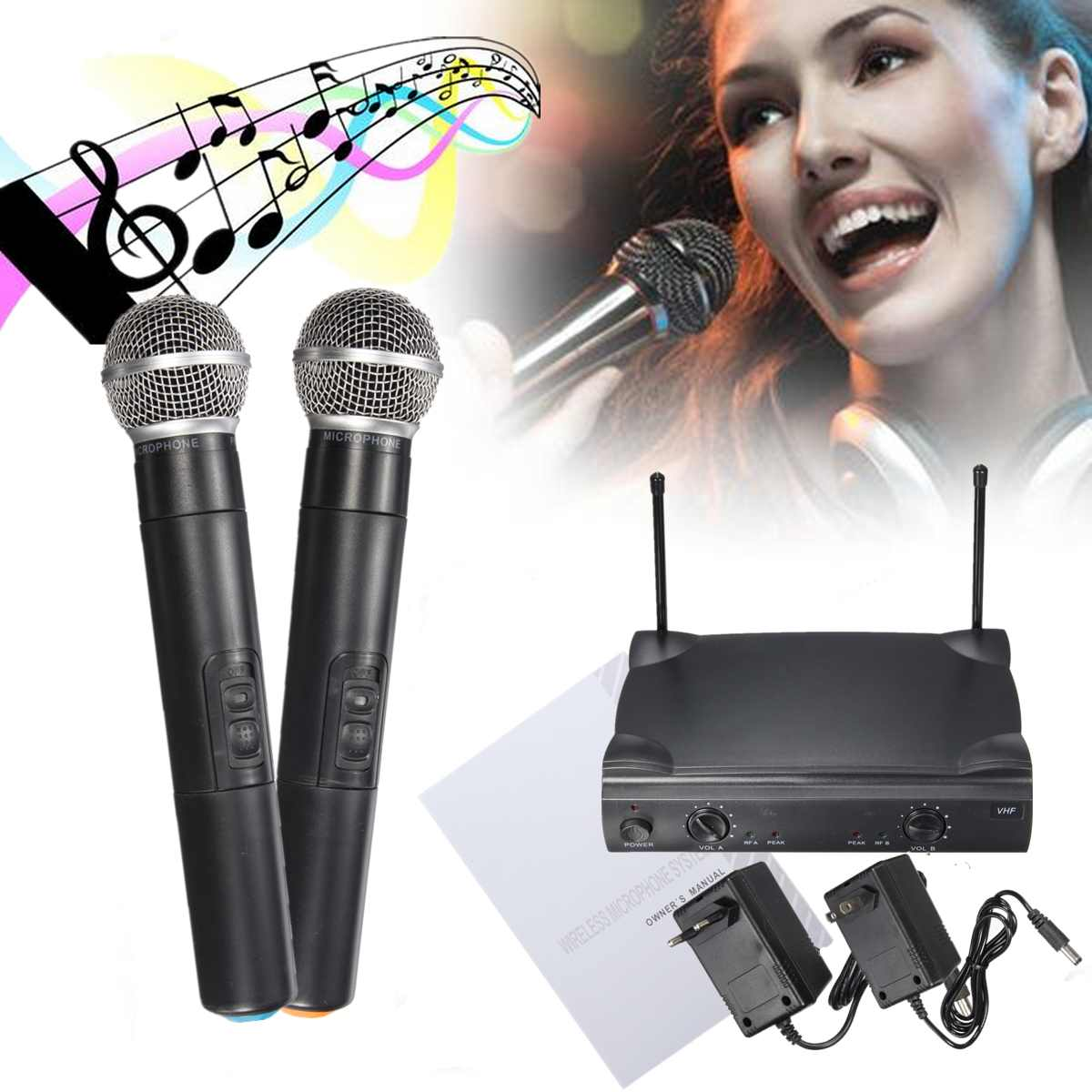 Sistema de micrófono inalámbrico de mano profesional VHF Dual con receptor para micrófono Kareoke fiesta estudio o karaoke ¡Oferta! micrófono de Karaoke para niños, juguete de aprendizaje de música fresco ajustable con efecto de luz, regalo de cumpleaños para niños, azul/rosa