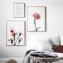 3 Pieces Watercolor Pink Peony Lily Nordic Posters And Prints Wall Art Canvas Painting Flower Pictures For Living Room