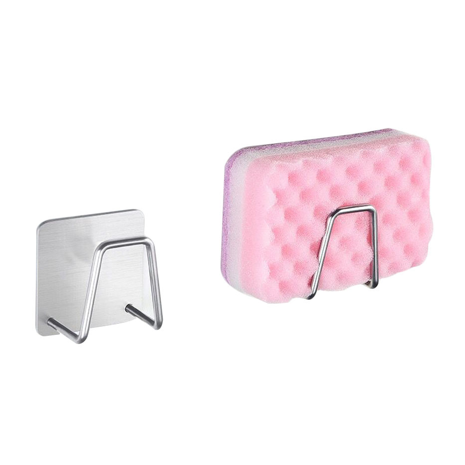 Stainless Steel Sponges Holder Rack Adhesive Sink Soap