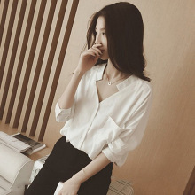 New Style Korean-Style V-neck Shirt Female Wild Elbow-Sleeve Loose White Students Top