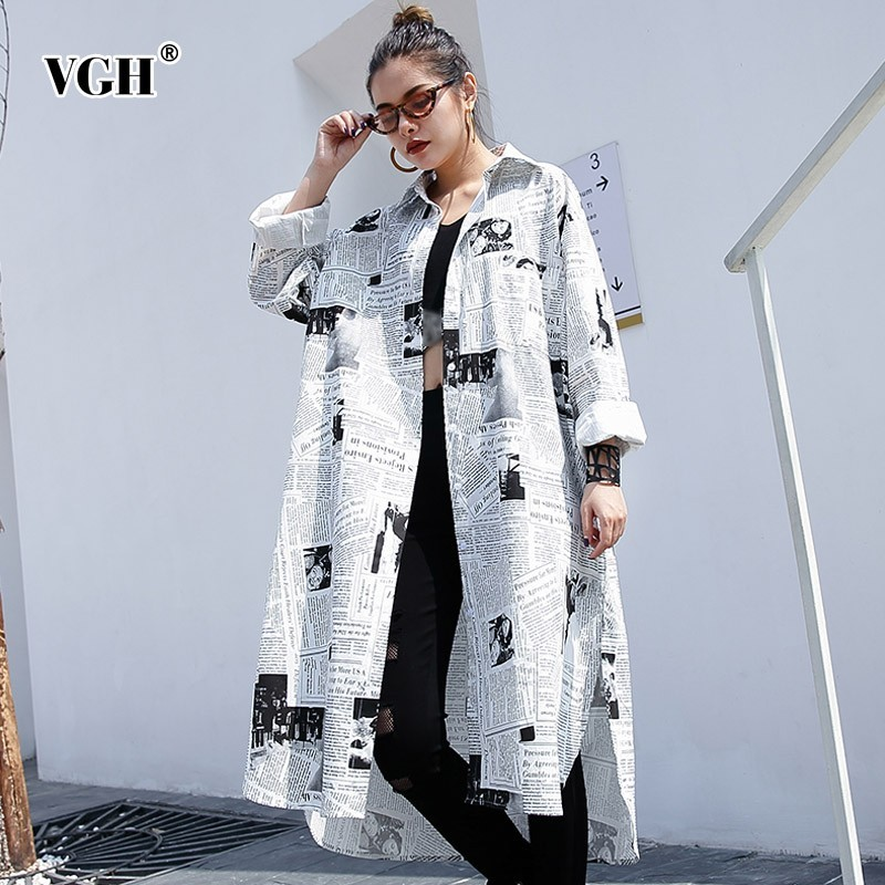 VGH Vintage Print Long Women   Blouse     Shirt   Long Sleeve Lapel Loose Oversize Female   Blouse     Shirts   Spring Fashion Korean New 2019