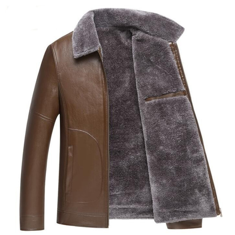 #3625 2018 Winter Warme Dikke Fleece Faux Lederen Jasje Pu Bontjas Parka Kraag Mannelijke Jas Bovenkleding Plus Size 4xl Overjas