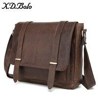 X.D.BOLO Genuine Leather Men Bag Shoulder Crossbody Bags Crazy Horse Laptop Male Messenger Bags Vintage Design Bag for Men
