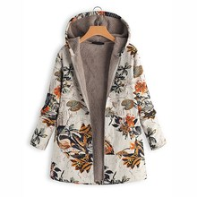 Women Winter Warm Coat Vintage Pockets Floral Print Hooded Oversize Coats Parka Casual Jacket Outwear