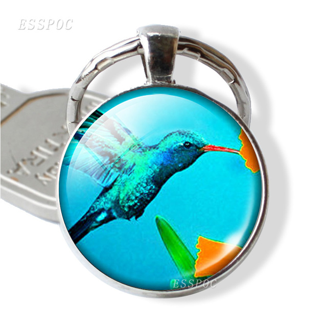 Cute Hummingbird Key Chains Silver Plated Fashion Round Bird Glass Dome Pendant Keychain Key Rings Holder Gift XG