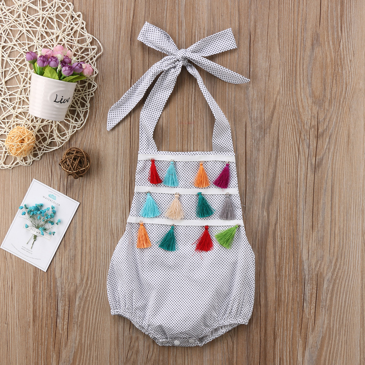 Cute Newborn Baby Girl Polka Dot Tassels Swimming Bodysuit Clothes Kids Summer Sunsuit Swimwear Bathing Suit Beachwear Bikinis in Children 39 s One Piece Suits from Sports amp Entertainment