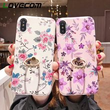 LOVECOM Luxury Retro Flower Finger Ring Case For iPhone XR XS Max X 8 7 Plus 6S Plus Kickstand Holder Soft IMD Phone Back Cover(China)
