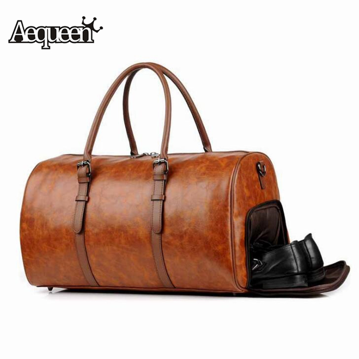 AEQUEEN Men Women PU Leather Travel Hand Bag Outdoor Gym Duffel Bag Weekender Overnight Luggage Handbag Waterproof Large Totes