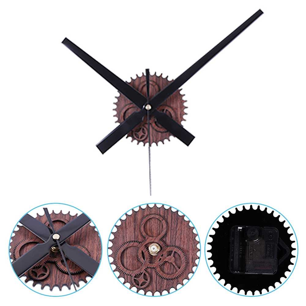 IALJ Top Retro Noiseless Wall Clock Silent Movement Kit Mechanism Parts With Clock Hands Wall Clock Diy Repair Parts Mahogany