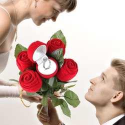 Красная роза кольцо коробка Индивидуальный бархат Свадьба оригинальность Подарочная коробка Мода валентинки обручение коробка Ювелирная