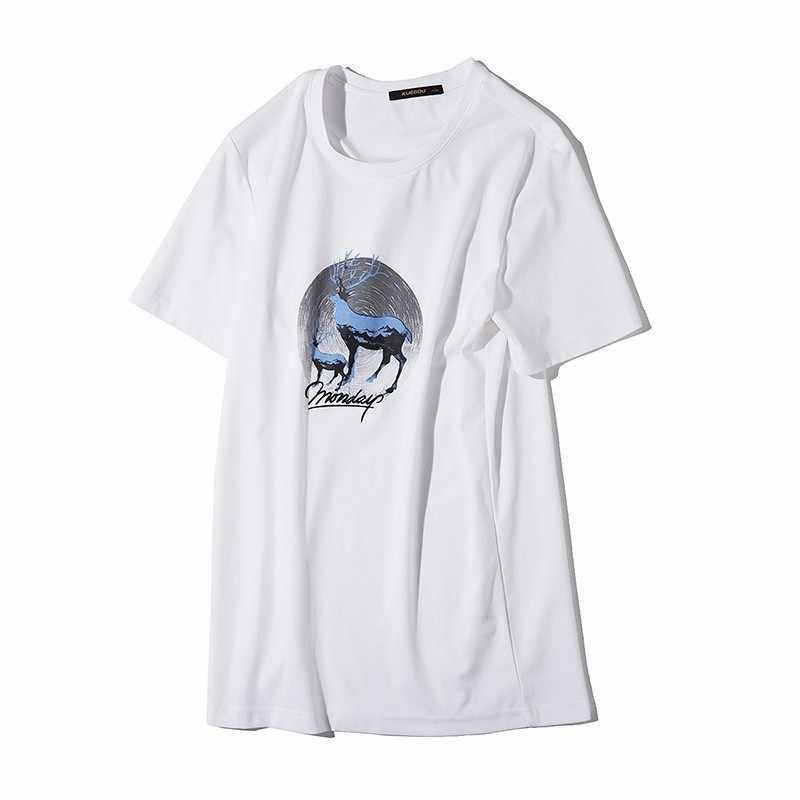 Été 2019 hommes T-shirt coton imprimé blanc jaune couleur pour homme mode à manches courtes coupe ajustée T-shirt homme usure T-shirt 09325