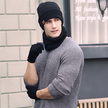 Winter Three Piece Set Hat+Glove+Scarf Unisex Casual  Hat Stretch Warm Scarf Glove Set Autumn Winter Windproof Knitted Elastic ~