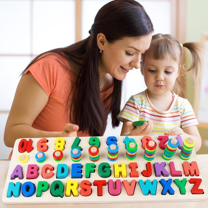 Alphabet Digit Learning Education Children Wooden Toys Montessori Three-in-one Math Letter Board Educational Teaching Math Toys