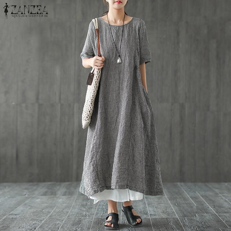 ZANZEA 2019 Summer Plaid Checked Dress Vintage Ladies O Neck Short Sleeve Loose Kaftan Casual Work Long Sundress Party Vestido