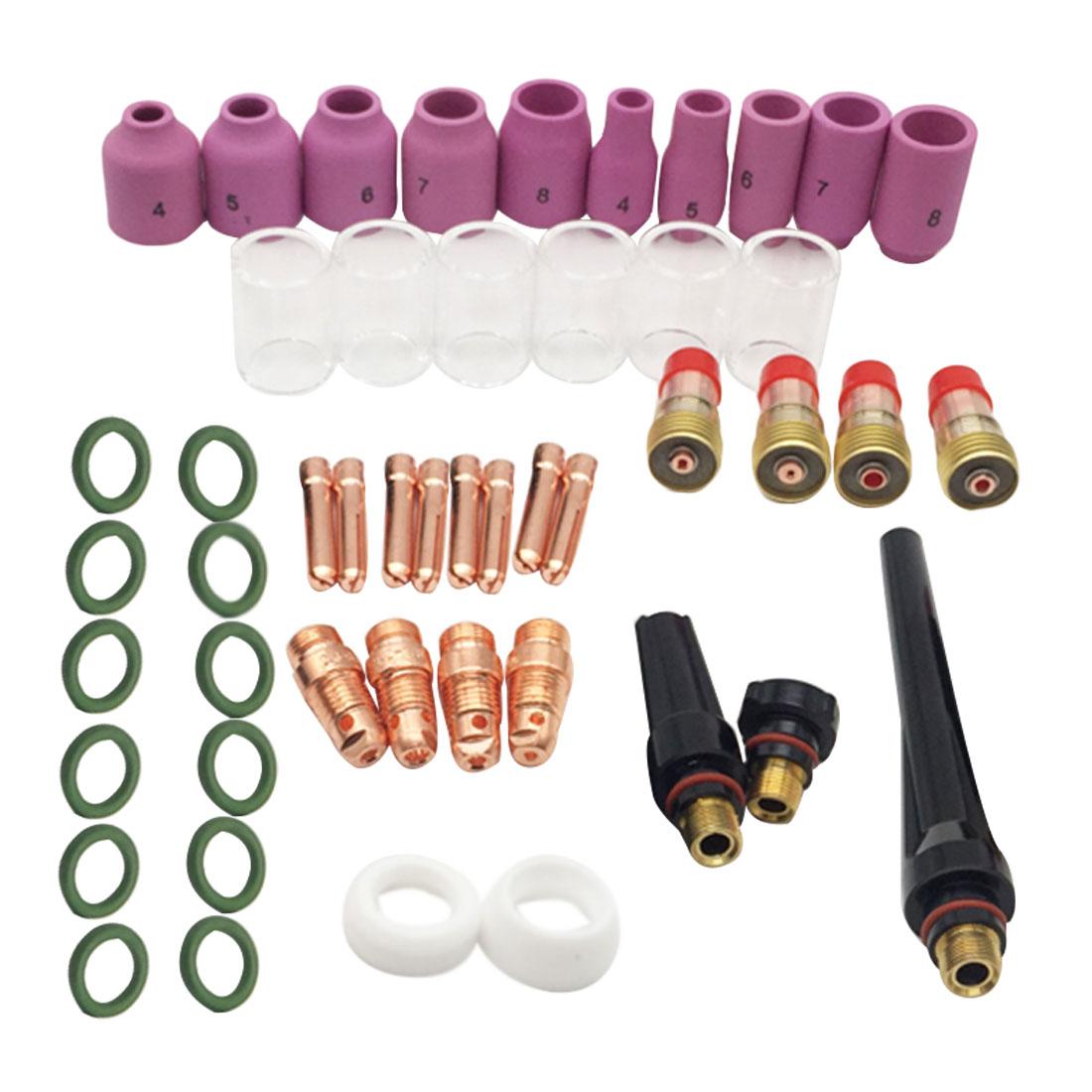 49 stücke Wig-schweißbrenner Stubby Gas Objektiv Kit Tasse Collet Körper Düse für WP 17/18/26 schweißen Maschine Zubehör