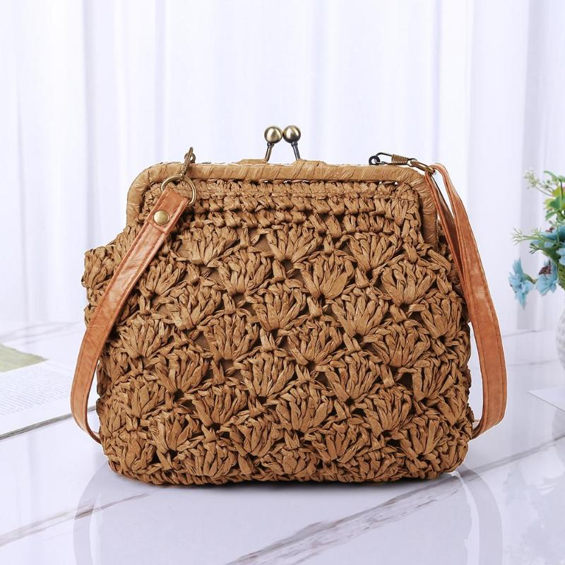 Fashion Straw Bag  Small Crossbody Straw Beach Bags Casual Women Wild Messenger Clutch Handbags Shoulder Crossbody Bag