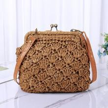 Fashion Straw Bag Small Crossbody Straw Beach Bags Casual Wo