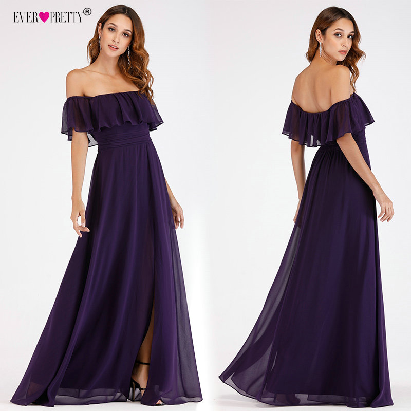 Prom Dresses Long Ever Pretty Elegant Off-shoulder A-line Leg Slit Wedding Guest Dresses Sexy Purple Chiffon Long Party Gowns