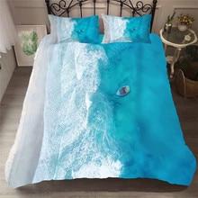 Zestaw pościeli 3D kołdra z nadrukiem pokrywa łóżko – zestaw plaża morze fala tekstylia domowe dla dorosłych pościel z poszewka na poduszkę # HL17