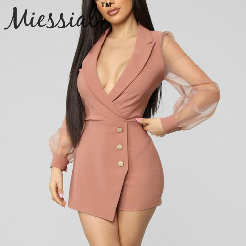 Miessial Sexy mesh winter pink   jumpsuit   romper Women long sleeve short elegant   jumpsuit   Female v neck bodycon blazer playsuit