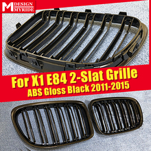 1 Pair X1 E84 Front Grille ABS Gloss Black Double Slats Replacement For M-Style Kidney 2011-15