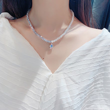 FYUAN Simulated Pearl Choker Necklaces for Women Bijoux Colorful Water Drop Crystal Pendant Necklaces Statement Jewelry Gifts faux pearl water drop velvet choker