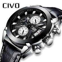 CIVO de lujo marca relojes para hombre impermeable reloj de cuero genuino de los hombres militares adolescente calendario negro pulsera de cuarzo