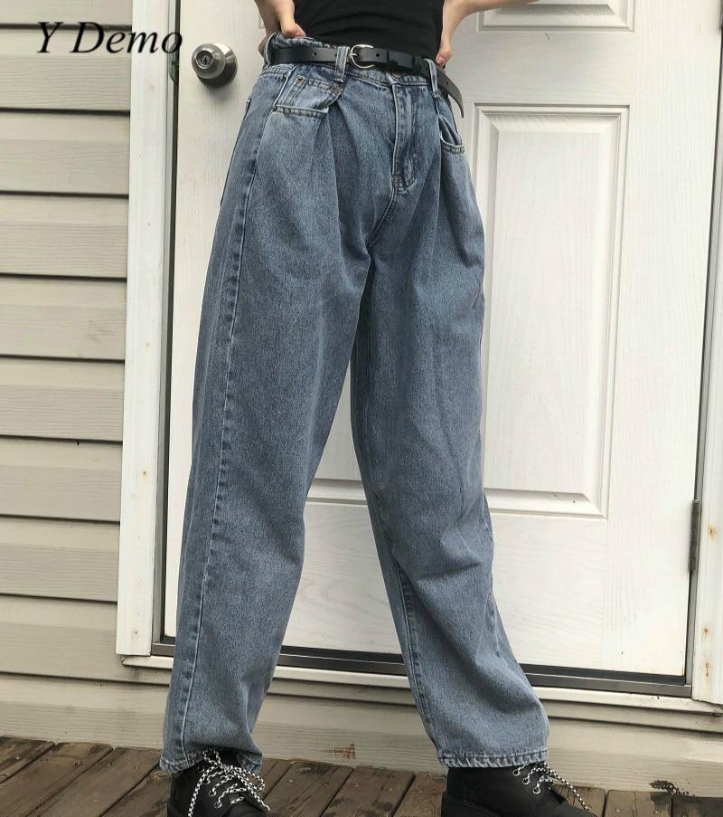 Vintage taille haute 90 s mode femmes Jeans lâche Streetwear femme pantalon large
