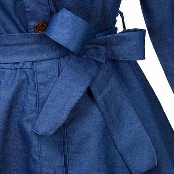 Denim Miniskirt Long Sleeve Dress 5