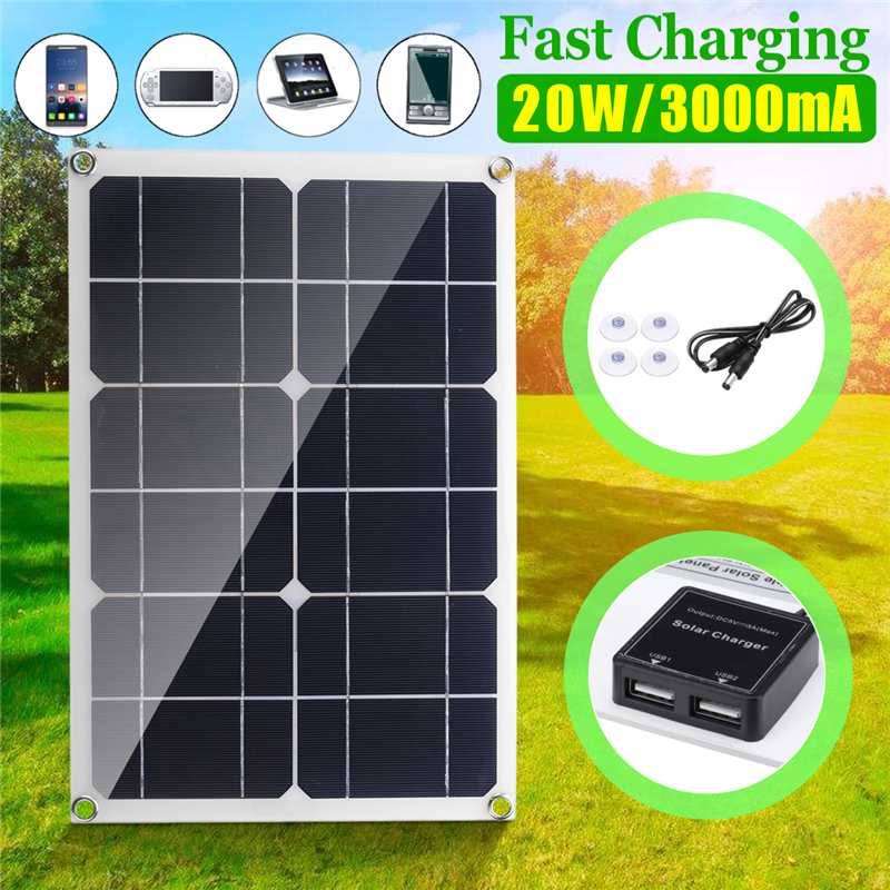 20W Solar Panel New 6V Double USB Solar Cells Module Sun Power battery charger 3A DIY 420*280*2.5mm for Cycling Climbing ect