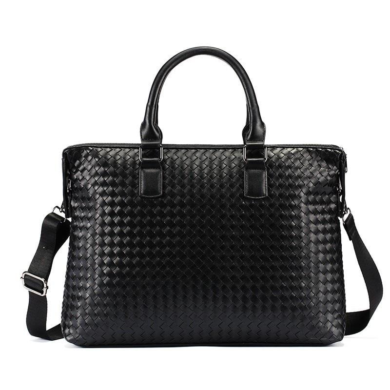 Leather Messenger Bag Women Laptop Business Briefcase Vintage Shoulder Satchel Bag Men Handbags Woven Hand Tote Bolso Hombre