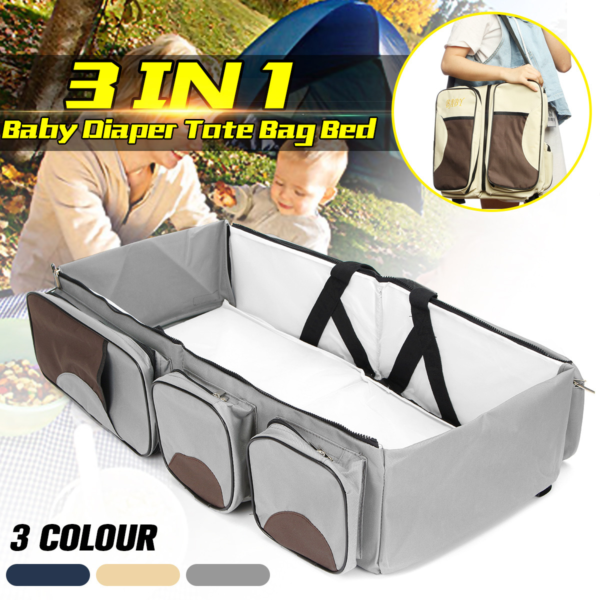 Fashion Diapers Bag Folding Mummy Travel Baby Bed Kids Bottle Cloth Case Large Space Nappy Bag 3 in 1 Portable Nappy Nursing Bag