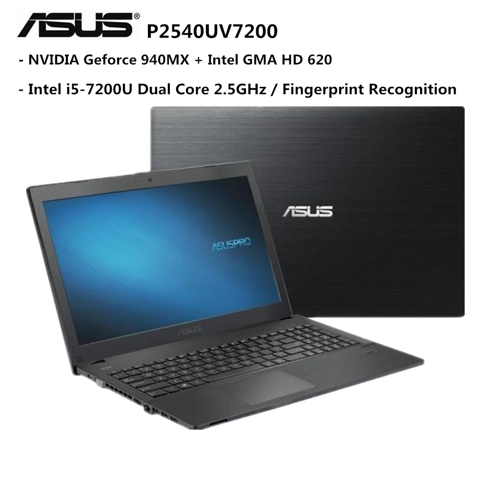 ASUS Notebook 15.6 inch Windows 10 Pro Intel i5-7200U Dual Core 2.5GHz 4GB RAM 500GB HDD Fingerprint Recognition Laptop
