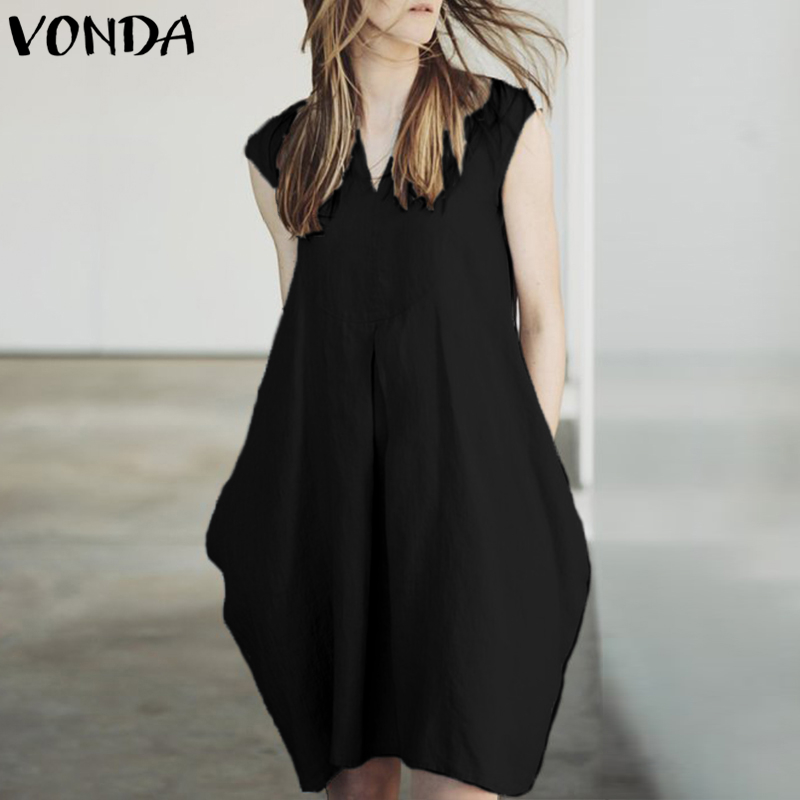 VONDA Sexy Women Mini Dress 2018 Summer V Neck Short Sleeve Dresses Elegant Casual Loose Pockets Solid Vestidos Plus Size