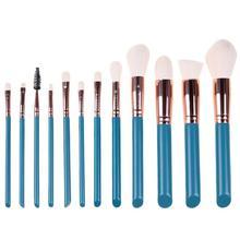 цены 12pcs Green Makeup Brushes Set Kit Foundation Powder Eye Shadow Brush Cosmetic Tool Make up Brushes Pincel Maquiagem