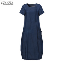 2019 ZANZEA Fashion Denim Blue Dress Women Casual Solid Short Sleeve Loose Vestido Summer Elegant Work OL Shirt Dresses Female