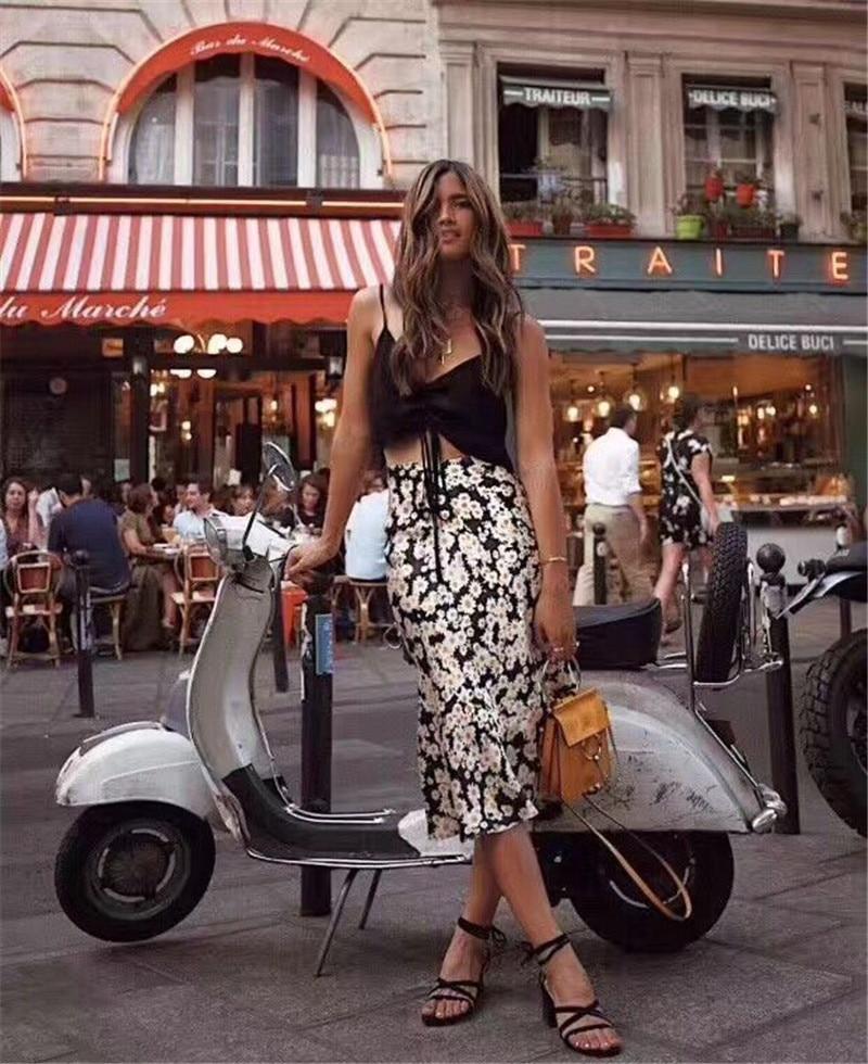 Caliente Cintura Floral Pequeña Alta Faldas De Mujer 100 Sexy Midi Daisy Calidad Seda 2018 ZxIa00qz