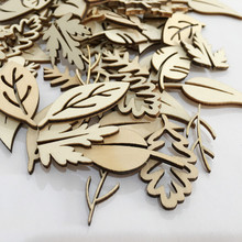 50pcs Wood Leaf Cutouts Shapes Wooden Craft Tag Decoupage Embellishments  DIY Scrapbooking Card Making Wood Art d4ed16b9893b
