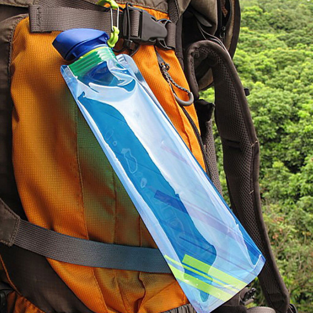 Image 5 - New Fashion 700ml Reusable Foldable Flexible Water Bottle Pouch Bag Camping Hiking Tool-in Water Bags from Sports & Entertainment