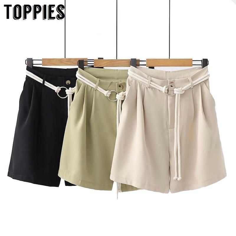 Summer Shorts High Waist Loose Short Trousers Drawstring Waist 2019 Casual beach Bottoms