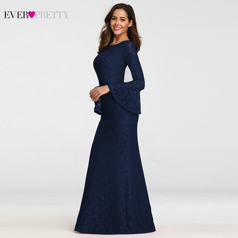 Image 3 - Ever Pretty Muslim Evening Dresses Long Elegant Full Lace Red Long Sleeve Cheap Formal Prom Gowns EZ07798 Abendkleider 2019-in Evening Dresses from Weddings & Events