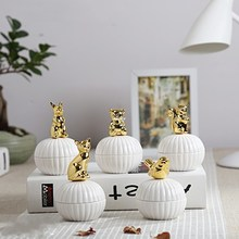 European Ceramic Candy Box Wedding Fashion Provides Nice Animals Gold Coated Jewelry Exquisite Ring Storage Tank
