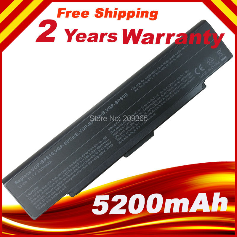 VGP-BPS9/S 5200mAh Laptop Battery For Sony For VAIO BPS9 VGP-BPS10 VGP-BPS9 VGP-BPS9A/B VGP-BPS9/B